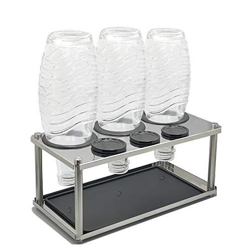 Seama Abtropfhalter aus Edelstahl mit Abtropfwanne und 3 Gummiringe für z.B. SodaStream Crystal & Emil Flaschen | spülmaschinenfest Abtropfständer Abtropfgestell inkl. Deckelhalterung