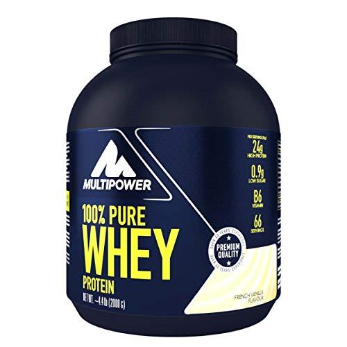 Multipower 100% Pure Whey Protein - wasserlösliches Proteinpulver mit Vanille Geschmack - Eiweißpulver mit Whey Isolate als Hauptquelle - Vitamin B6 und hohem BCAA-Anteil - 2 kg