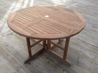 Chester-Tavolino in legno massiccio di teak-1.2m/1,2m rotonda pieghevole