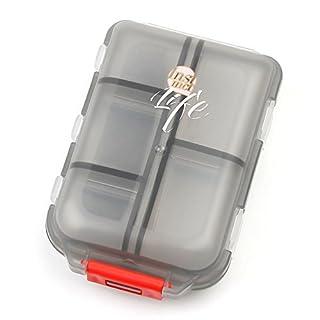 Bidear Pillenbox Organizer, Klein Einfach Pillendose Vitamin Caddy Tablettenbox mit 10 Fächer für Reise/Urlaub/Outdoor Sport (Durchsichtig Schwarz)