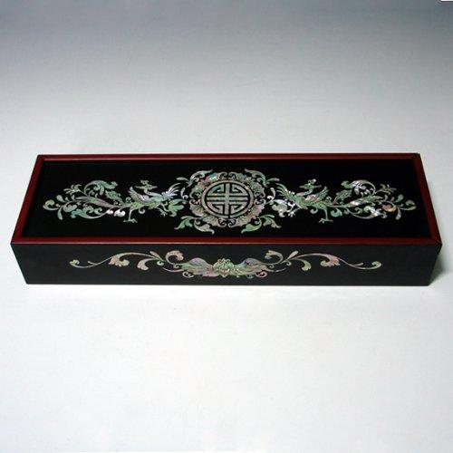 Boîte à Crayon Artisanale Caractère Chinois Luxueux Design Nacre Art Floral Asie