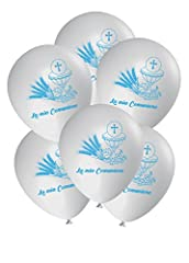 Idea Regalo - ocballoons® Palloncini Comunione decorazioni addobbi festa Gas elio Party Celeste 25pz