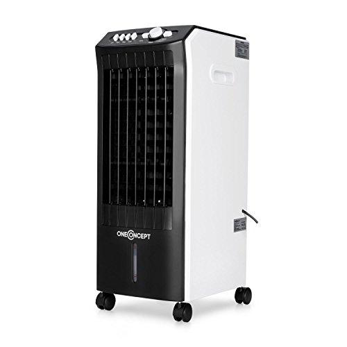 oneConcept MCH-1 V3 Luftkühler Lufterfrischer (Ventilator, 3 Leistungsstufen, Timer, Fernbedienung, stromsparend, 70 Watt, 8 Liter Wassertank, inkl. Eispacks) schwarz-weiß