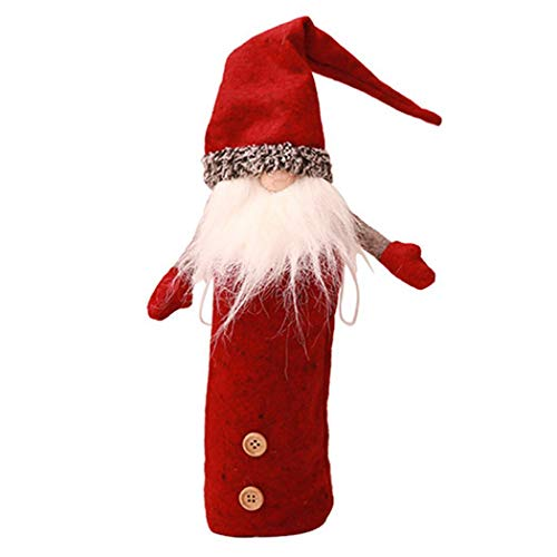 Gfone 1/3/6/10 Pcs Weihnachten Deko Set Weinflasche Hut Weinachts Dekoration Party Santa Cap Cover Tischdeko Weihnachtsmann Weihnachtsmütze Nikolausmütze (Santa Dekoration Cap)