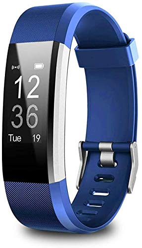 Adeeing Bluetooth Smart Fitness Tracker,Bluetooth Smart Watch Heart Rate Blood Pressure Monitor,Blue