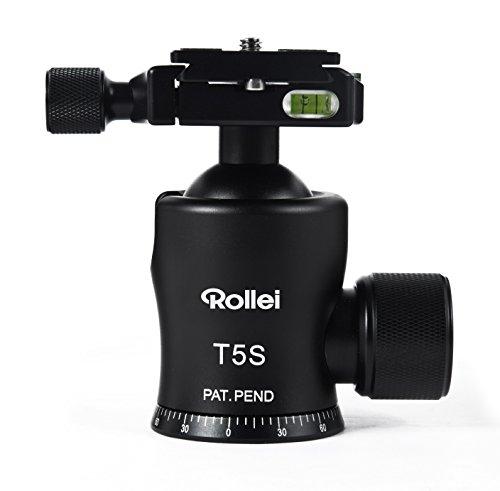 Rollei T-5S - robuster Panorama-Kugelkopf mit einer maximalen Traglast von 25 kg, Arca Swiss kompatibel, inkl. Schnellwechselplatte - Schwarz
