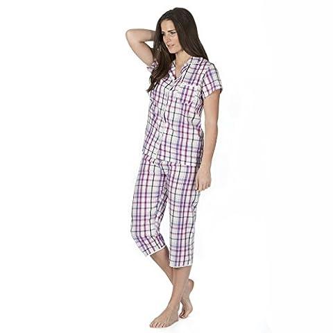 Ladies Short Sleeve Pyjama Set Three Quarter Bottoms (Sizes S-XL) 100% Cotton Cropped PJs