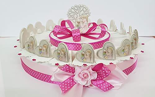 Resina torta bomboniere prima comunione cuore bimba ( 20 fette 1 piano)