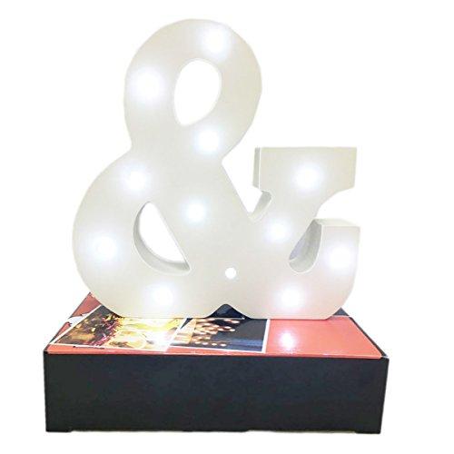 Dekorative leuchtende Buchstaben,KINGCOO Lampe batteriebetrieben hölzerne Alphabet uchstaben Zeichen Lichter,Party Hochzeit Dekorationen,Dein Name in Lichter - weiß (&) (Hölzerne Lampe)