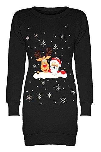 Oops Outlet Damen Weihnachten Bedruckt Fleece Gestrickt Sweatshirt Schneeflocken Weihnachten Elf Santa Rentier Minikleid - Rentier und Santa an Wand Schwarz, S/M (36/38)