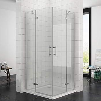 90 x 90 x 195 cm Duschkabine Eckeinstieg Dusche Falttür 180º ...