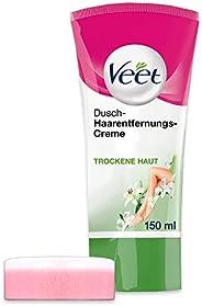 Veet dusch-hårborttagningskreme silkeslen fräk, 1 x 150 ml tub med svamp