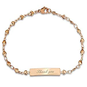 Thank you bracelet avec cœur gravé Cadeau-br43