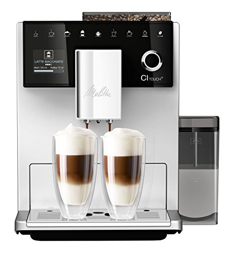 Melitta CI Touch F630-101 Kaffeevollautomat mit Milchbehälter | Flüsterleises Mahlwerk | One Touch Funktion | 10 Kaffeevariationen | TFT-Farbdisplay | Silber