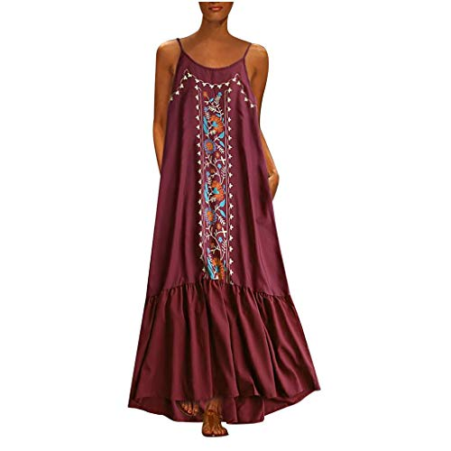Fenverk Damen Lange Kleider Sommerkleid Leinenkleid Mode Tops Vintage Print Stickerei Oansatz Plus Größe Taschen Maxi Dress Einfarbig Bluse (A rot,XXL) -