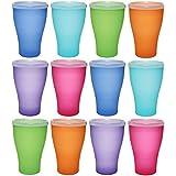 idea-station NEO tasse en plastique 450 ml 12 pièces réutilisables, coloré avec couvercle ou transparent sans couvercle, peut être utilisé comme verres à eau, verres à cocktail, des tasses de fête, gobelets en plastique sont incassables, Farbe:12 St. / bunt / m. Deckel