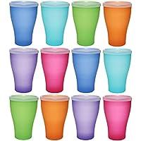 idea-station NEO taza de plástico 450 ml 12 piezas, reutilizable, colorido con tapa o transparente sin tapa, también se puede utilizar como vasos de agua, vasos de cóctel, vasos de fiesta, vasos de plástico son irrompibles, Farbe:12 St. / bunt / m. Deckel