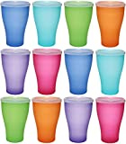 idea-station NEO Kunststoff-Becher mehrweg 450 ml 12 Stück, farbig bunt mit Deckel oder transparent ohne Deckel, stapelbar auch als Wasser-Gläser, Cocktail-Gläser einsetzbar, Party-Becher, Plastik-Becher sind bruchsicher, unzerbrechlich, Farbe:12 St. / bunt / m. Deckel