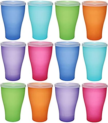 idea-station NEO plastic mug 450 ml 12 pieces, reusable, colorful with lid or transparent without lid, can also be used as water glasses, cocktail glasses, party cups, plastic cups are unbreakable, Farbe:12 St. / bunt / m.