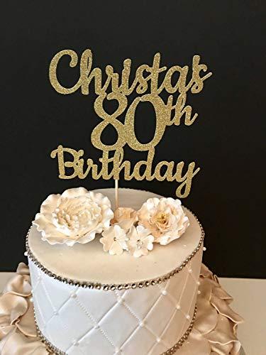 Tortenaufsatz für Hochzeitstorte oder Hochzeitstorten, glitzernd, 80. Geburtstag 80. Geburtstag und fabelhafte Geburtstag, personalisierbar, Hochzeitsgeschenk, rustikaler Tortenaufsatz für Paare