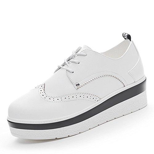 Damen Plateau Schuhe mit 5 CM Gummi Keilabsatz Weiche Leder Schnürschuhe Weiß