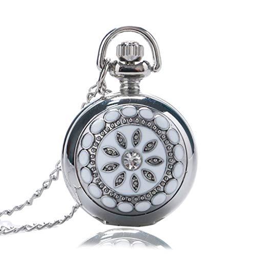 DYH&PW Taschenuhr Exquisite Kleid Uhr Spiegel Elegante Silber Jade kristall Schnee Blume Quarz taschenuhr Halskette Kette Frauen Dame mädchen Geschenke