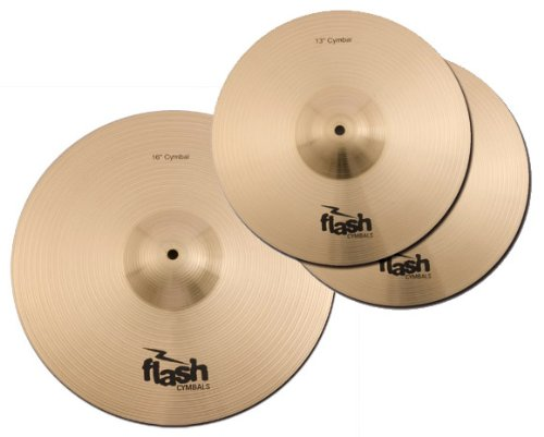 """Flash Impact Series 36 Schlagzeug Becken Set (Drum Cymbals, 13\"""" HiHats, 16\"""" Crash-Ride, voller, durchsetzungsfähiger Sound)"""
