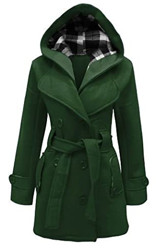 CANDY FLOSS NEW LADIES HOODED BELTED FLEECE JACKET WOMENS COAT GREEN SIZE 12