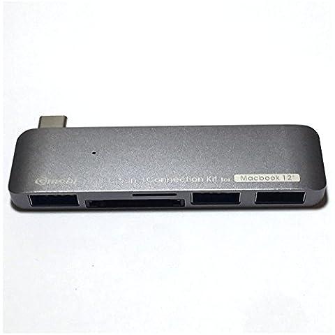 BTEK® USB 3.1 Tipo-C Type-C USB-C macho a 3-Port Hub compacto adaptador SD SHDC | MicroSD MicroSHDC Lector De Tarjeta Memoria Para 12 pulgadas Apple MacBook y Retina Chromebook portátil Edición 2015 píxeles color gris