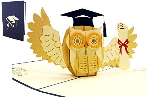 (LIN 17530, Pop Up 3D Karte Glückwunsch Grußkarten bestandene Prüfungbestan, Abitur, Diplom, Doktor, Gutschein, Eule mit Urkunde, N284)