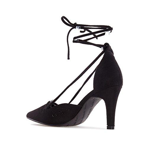 Andrés Machado.AM5178.Chaussures en Suèdine ajourées.Petites et Grandes Pointures 32/35-42/45 Noir