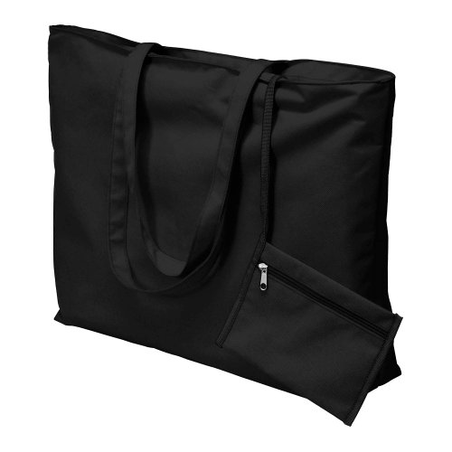 Ladies Large Beach Bag & Attached Purse - Tote Shopping Bag (Black)