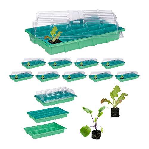 Relaxdays set da 10 mini serre per 24 piante, con coperchio, semenzaio, davanzale, balcone, germinatore 38 x 24,5 cm, verde