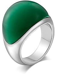 Aooaz Gioielli anello fascia anello acciaio uomo diamond-accentata Semi-arco CZ anello gotico anelli fidanzamento anello biker