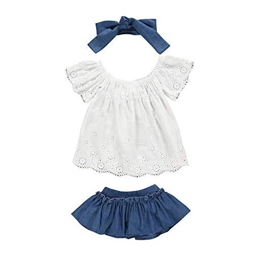 LEXUPE Neugeborene Kinder Baby Mädchen Outfits Kleidung Lace T-Shirt + Jeansrock + Stirnband Set(Weiß,80)
