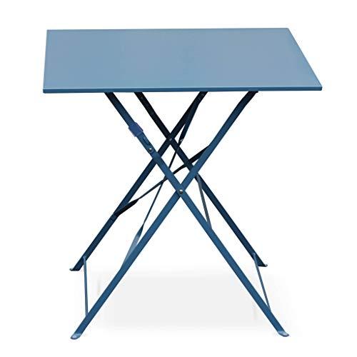 Alice's Garden Table Jardin bistrot Pliable - Emilia - Table carrée 70x70cm en Acier thermolaqué (Bleu Grisé)