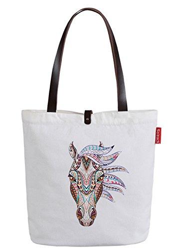 So'each Women's Cartoon Animal Horse Letters Top Handle Canvas Tote Shoulder Bag White