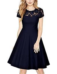MIUSOL Damen Spitze Rundhals Sommer kleid elegant Abendkleid Rockabilly Cocktailkleid Blau Gr.36-44