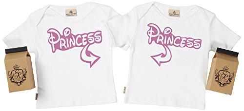 SR - estuche de presentación - Princess camiseta gemelos bebé - ropa para gemelos bebé - regalo para gemelos bebé, Blanco, 6-12 meses