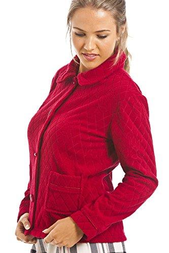 Camille - Giacca da camera donna in pile jacquard con motivo floreale - rosso Rossa