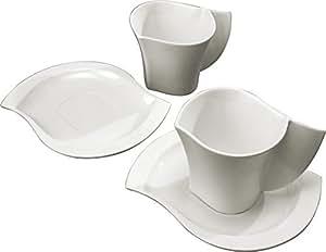 Deagourmet 59, Ninfea Set 2 Tazze Colazione con Piattino, Porcellana Bianca