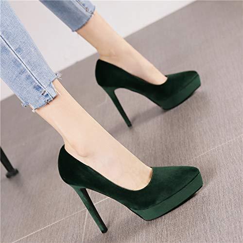 HRCxue Pumps Mode Spitze Samt Wasserdichte Plattform dunkelgrün Stilett High Heel Frauen Retro Wilde Schwarze Flache Schuhe, 38, grün