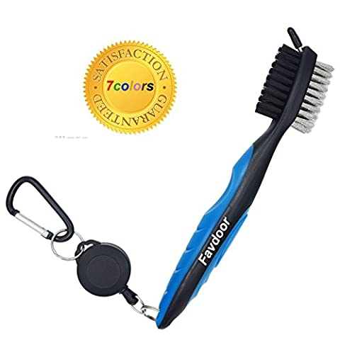 Golf Club Brush and Groove Cleaner Brush By Favport Brushes in 6 Different Colors For Golf Shoes/Golf Club/Golf/Golf Groove, 2 Ft Retractable Zip-line Aluminum Carabiner