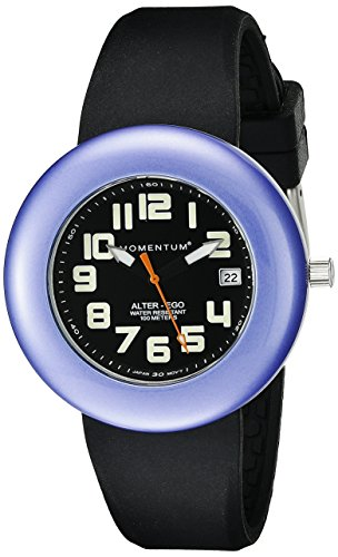 Momentum Ladies 1M-Sp99Bp1B Alter Ego Purple Bezel Black Band Watch