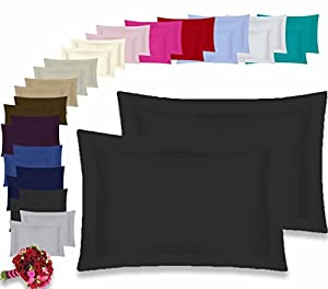Oxford Pair Pillow Cases 100 % Percale 180 Thread Count Hotel Quality * Textile.Plus*