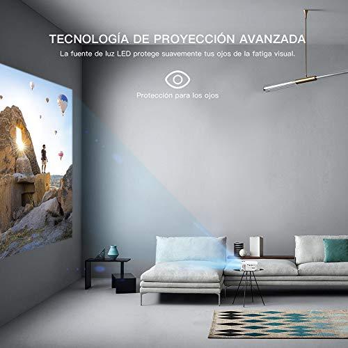 41jmk1AMnML - Proyector APEMAN Mini Portátil Proyector de Cine en Casa 3800 Lúmenes Altavoces Duales Incorporados 50000 Horas Soporte HD 1080P HDMI/USB/VGA/AV/Micro SD (Incluye HDMI/AV/Cable de Alimentación)