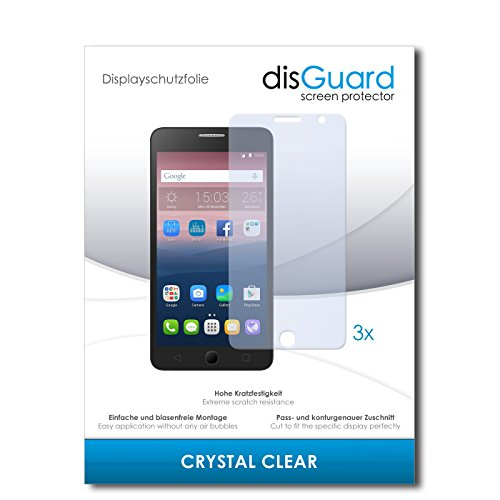 disGuard® Bildschirmschutzfolie [Crystal Clear] kompatibel mit Alcatel One Touch Pop Star 3G [3 Stück] Kristallklar, Transparent, Unsichtbar, Extrem Kratzfest, Anti-Fingerabdruck - Panzerglas Folie, Schutzfolie