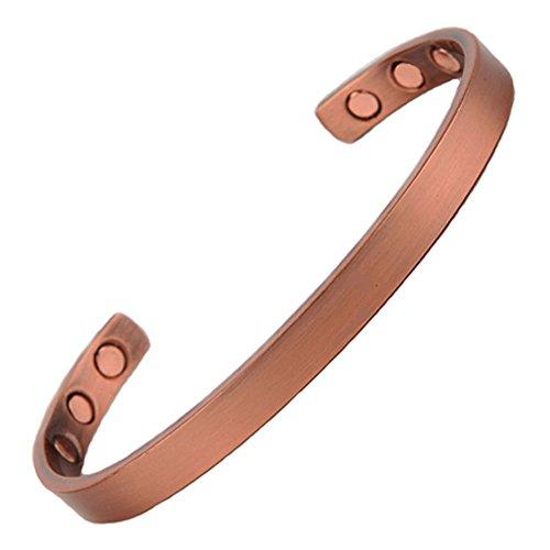 North South Magnet-Armreif Kupfer Kupfer, (Mittel), 6 Magnete für Handgepäck Handgelenke bis 7 3/4 in.