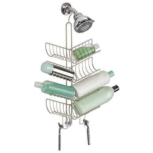 MDesign Duschablage zum Hängen - praktisches Duschregal - ohne Bohren zu montieren - Duschkörbe zum Hängen aus Metall - für sämtliches Duschzubehör (Shampooflaschen, Rasierer etc.) (Chrom Dusche Caddy Rostfrei)
