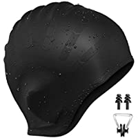 OMORC Silicone Swimming Cap for Women and Men With Anti-Tear Ergonomic Ear Pockets to Cover Ears, Long Hair, Thick or Short - Average/Large Heads, Great for Adults, Older Kids, Boys and Girls
